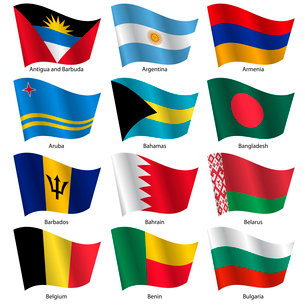 Set  Flags of world sovereign states. Vector illustration. Set number 2. Exact colors. Easy changes.のイラスト素材 [FYI03100186]