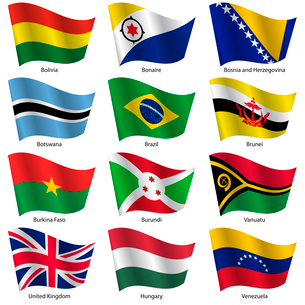 Set  Flags of world sovereign states. Vector illustration. Set number 3. Exact colors. Easy changes.のイラスト素材 [FYI03100188]