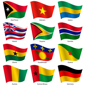 Set  Flags of world sovereign states. Vector illustration. Set number 4. Exact colors. Easy changes.のイラスト素材 [FYI03100189]