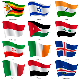 Set  Flags of world sovereign states. Vector illustration. Set number 6. Exact colors. Easy changes.のイラスト素材 [FYI03100190]
