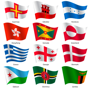 Set  Flags of world sovereign states. Vector illustration. Set number 5. Exact colors. Easy changes.のイラスト素材 [FYI03100191]