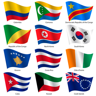 Set  Flags of world sovereign states. Vector illustration. Set number 8. Exact colors. Easy changes.のイラスト素材 [FYI03100192]
