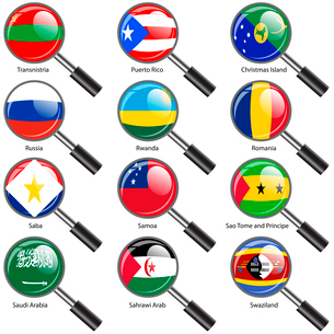 Set  Flags of world sovereign states Magnifying glass. Vector illustration. Set number 13. Exact colのイラスト素材 [FYI03100193]