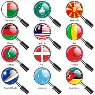 Set  Flags of world sovereign states Magnifying glass. Vector illustration. Set number 10. Exact colのイラスト素材 [FYI03100194]