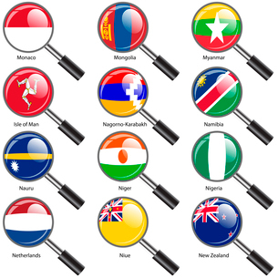 Set  Flags of world sovereign states Magnifying glass. Vector illustration. Set number 11. Exact colのイラスト素材 [FYI03100195]