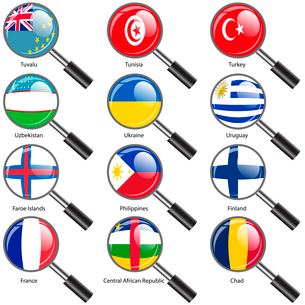 Set  Flags of world sovereign states Magnifying glass. Vector illustration. Set number 16. Exact colのイラスト素材 [FYI03100197]