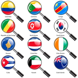 Set  Flags of world sovereign states Magnifying glass. Vector illustration. Set number 8. Exact coloのイラスト素材 [FYI03100198]
