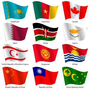 Set  Flags of world sovereign states. Vector illustration. Set number 7. Exact colors. Easy changes.のイラスト素材 [FYI03100199]