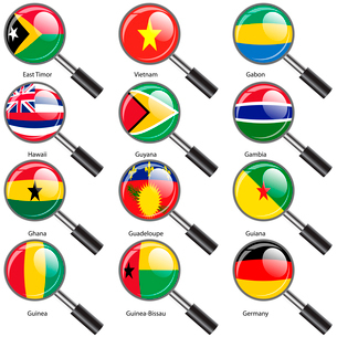 Set  Flags of world sovereign states Magnifying glass. Vector illustration. Set number 4. Exact coloのイラスト素材 [FYI03100200]