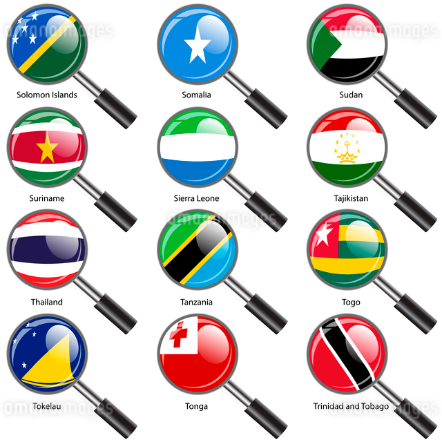 Set  Flags of world sovereign states Magnifying glass. Vector illustration. Set number 15. Exact colのイラスト素材 [FYI03100202]