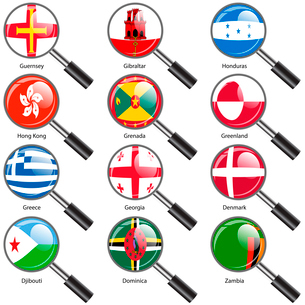 Set  Flags of world sovereign states Magnifying glass. Vector illustration. Set number 5. Exact coloのイラスト素材 [FYI03100203]