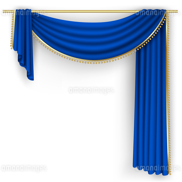 Blue curtain on the white background. Mesh.のイラスト素材 [FYI03100204]