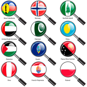 Set  Flags of world sovereign states Magnifying glass. Vector illustration. Set number 12. Exact colのイラスト素材 [FYI03100205]