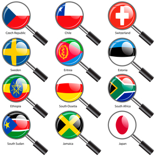 Set  Flags of world sovereign states Magnifying glass. Vector illustration. Set number 17. Exact colのイラスト素材 [FYI03100207]