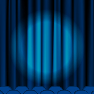 Blue curtains to theater stage. Mesh10.This file contains transparency.のイラスト素材 [FYI03100209]