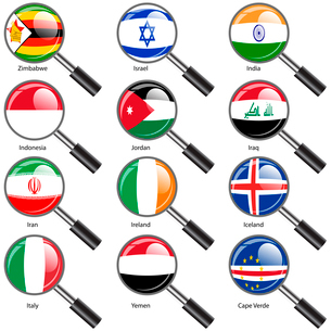 Set  Flags of world sovereign states Magnifying glass. Vector illustration. Set number 6. Exact coloのイラスト素材 [FYI03100210]