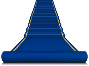 Blue carpet with ladder. Mesh.のイラスト素材 [FYI03100213]