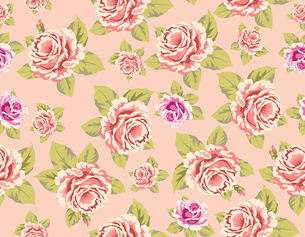 Seamless wallpaper pattern with of pink roses on yellow background, vector illustrationのイラスト素材 [FYI03100218]