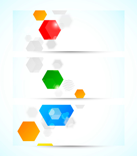 Set of banners with colorful hexagonsのイラスト素材 [FYI03100276]