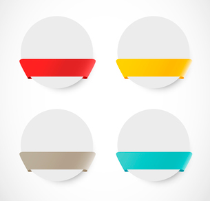 Set of rounded banners with ribbonsのイラスト素材 [FYI03100420]