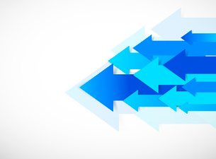 Abstract background with blue arrowsのイラスト素材 [FYI03100441]