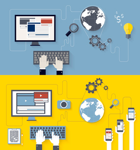 Web development and blogging designのイラスト素材 [FYI03100537]