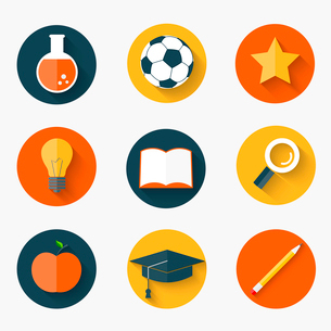 Set of education icons in flat styleのイラスト素材 [FYI03100552]