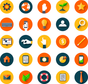 Set of business modern icons in flat style with long shadows on circles. Trendy designのイラスト素材 [FYI03100560]