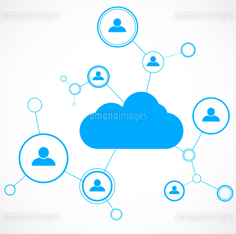 Network concept. Cloud technolgy. Social networking. Design template. Vector illustrationのイラスト素材 [FYI03100570]