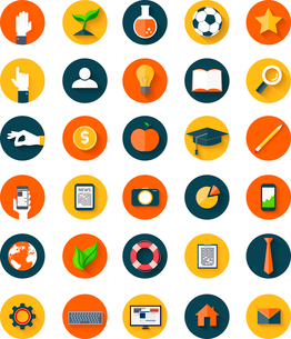 Set of  modern icons in flat style with long shadows on circles. Trendy designのイラスト素材 [FYI03100575]