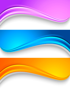 Set of wavy colorful banners. Header design. Template for web. Vector illustrationのイラスト素材 [FYI03100591]