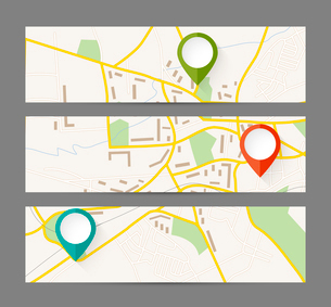 Set of banners with map and color pin pointerのイラスト素材 [FYI03100595]