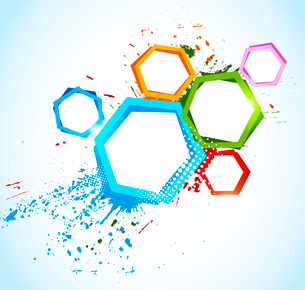 Abstract colorful background with hexagons. This is file of EPS10 format.のイラスト素材 [FYI03100627]