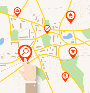 Hand tap on pin pointer on navigation mapのイラスト素材 [FYI03100632]