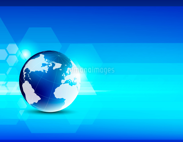 Abstract blue background with globeのイラスト素材 [FYI03100652]
