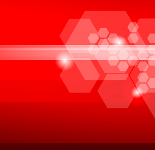 Abstract red background with hexagonsのイラスト素材 [FYI03100679]