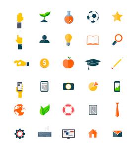 Set of flat icons isolated on whiteのイラスト素材 [FYI03100738]