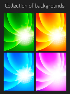 Set of colorful backgrounds with light effectのイラスト素材 [FYI03100742]