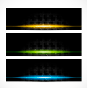 Set of bright glowing bannersのイラスト素材 [FYI03100745]