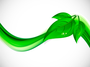 Abstract background with green wave and leavesのイラスト素材 [FYI03100751]