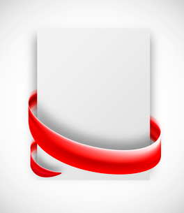 Abstract card with red ribbon. Vector gift bannerのイラスト素材 [FYI03100756]