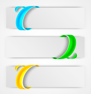Abstract colorful banners with swirl surround effect in green blue orange colorsのイラスト素材 [FYI03100764]