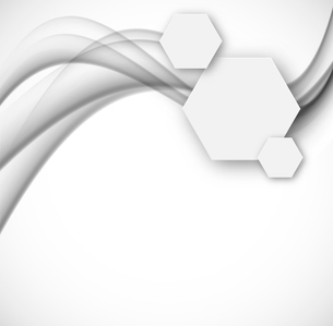 Abstract background with paper hexagons with gray wavy linesのイラスト素材 [FYI03100768]