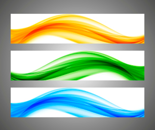 Abstract wavy orange green blue bright bannersのイラスト素材 [FYI03100771]