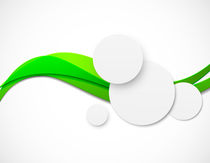 Abstract bright background with paper circles and green linesのイラスト素材 [FYI03100772]