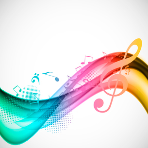 Colorful wavy music background with notes and g-clefのイラスト素材 [FYI03100805]