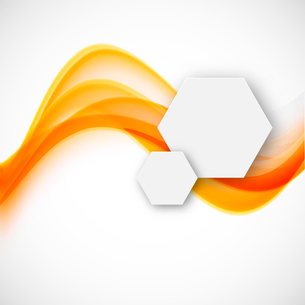 Abstract background with orange waves and paper hexagonsのイラスト素材 [FYI03100808]