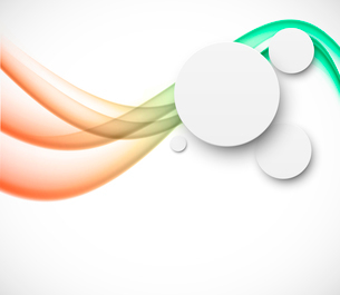 Abstract background with bright waves and paper circleのイラスト素材 [FYI03100809]