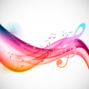 Colorful wavy music background with notes and g-clefのイラスト素材 [FYI03100812]