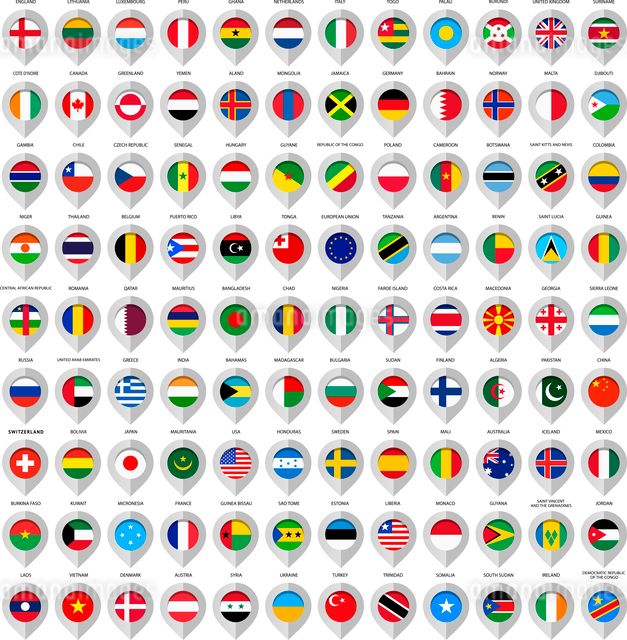 Map gray marker with flags.のイラスト素材 [FYI03100821]